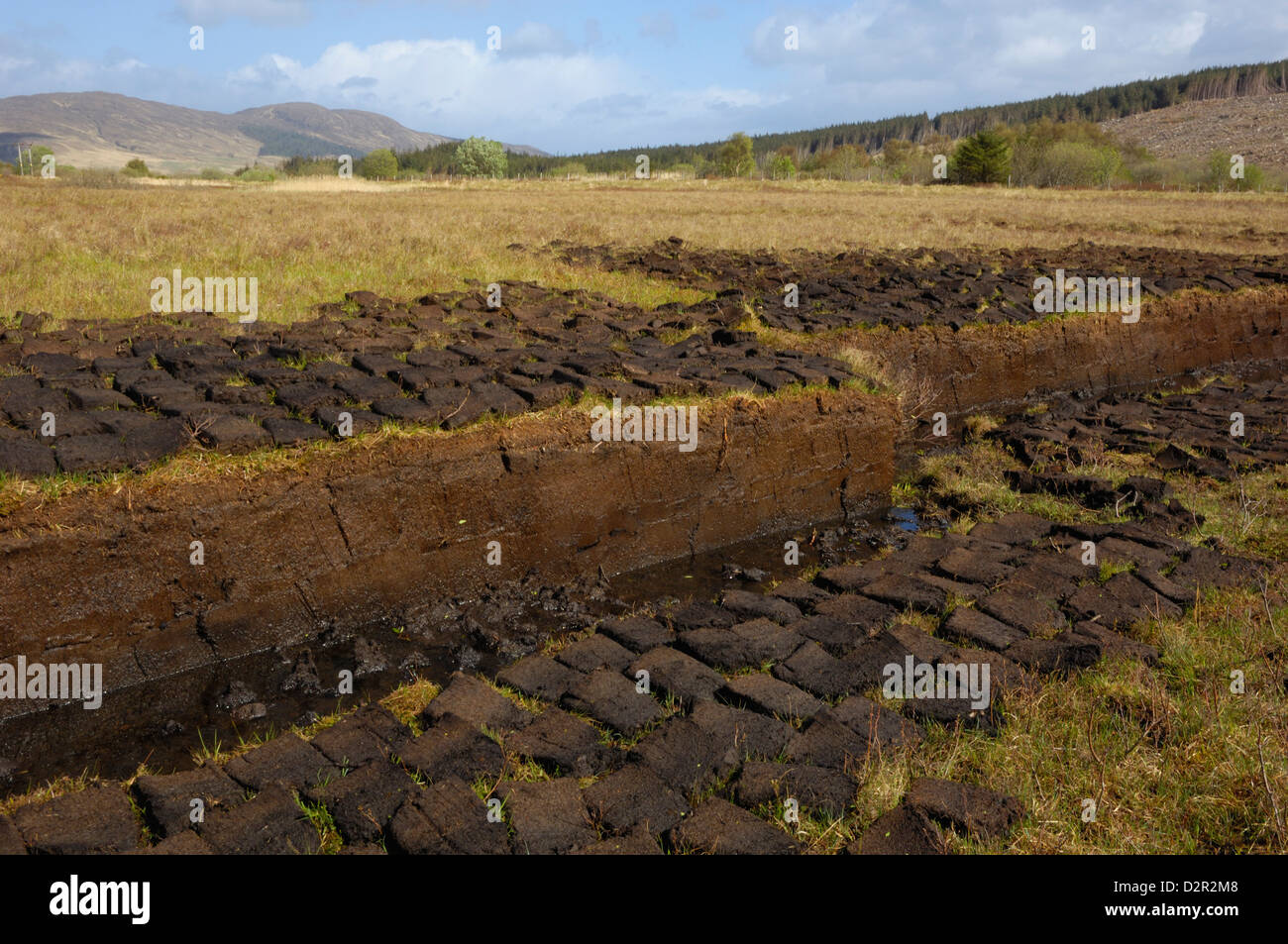 Peat cutting, Isle of Skye, Inner Hebrides, Scotland, United Kingdom, Europe - Stock Image
