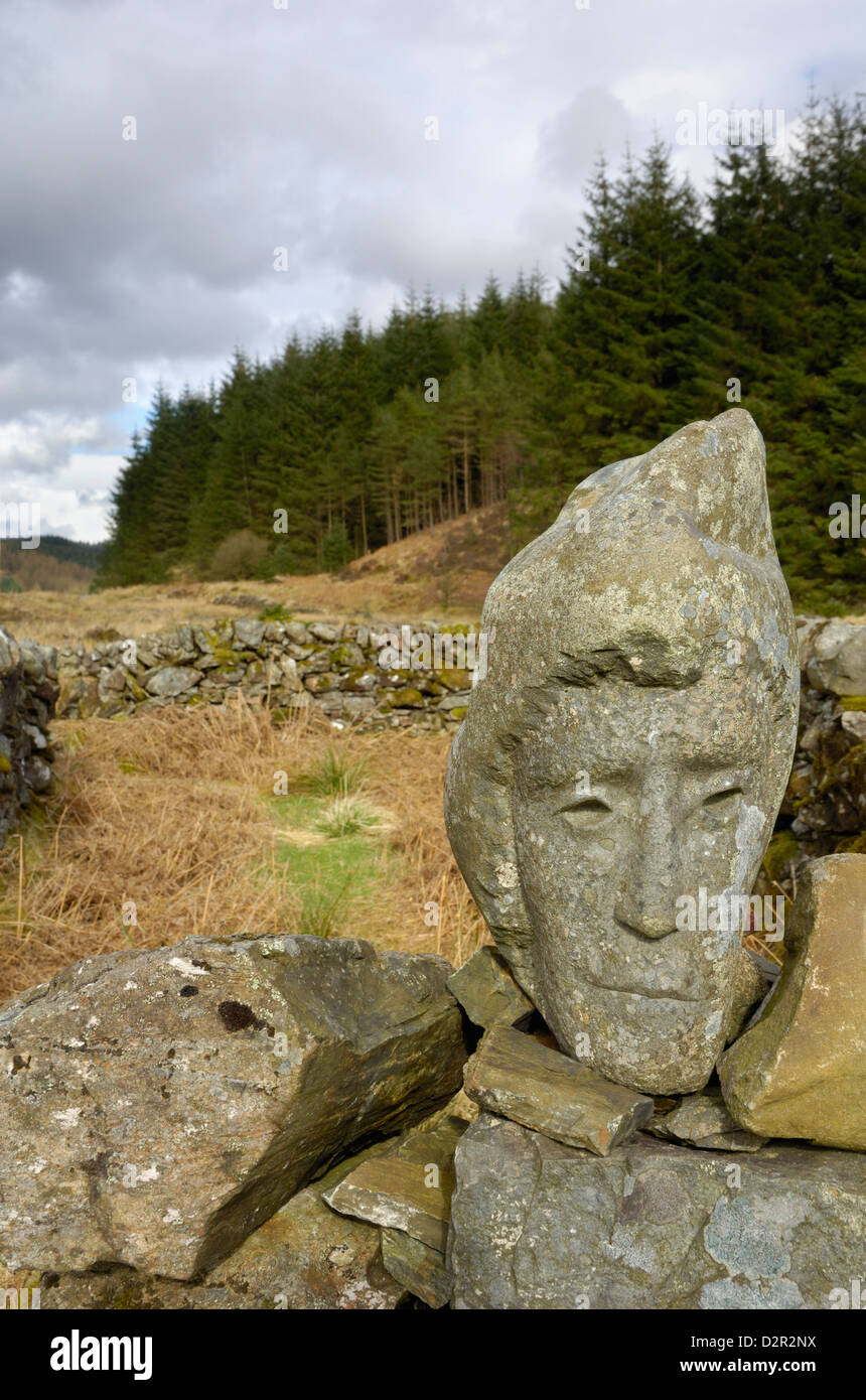 Stone sculpture called Quorum, Galloway Forest, Dumfries and Galloway, Scotland, UK - Stock Image