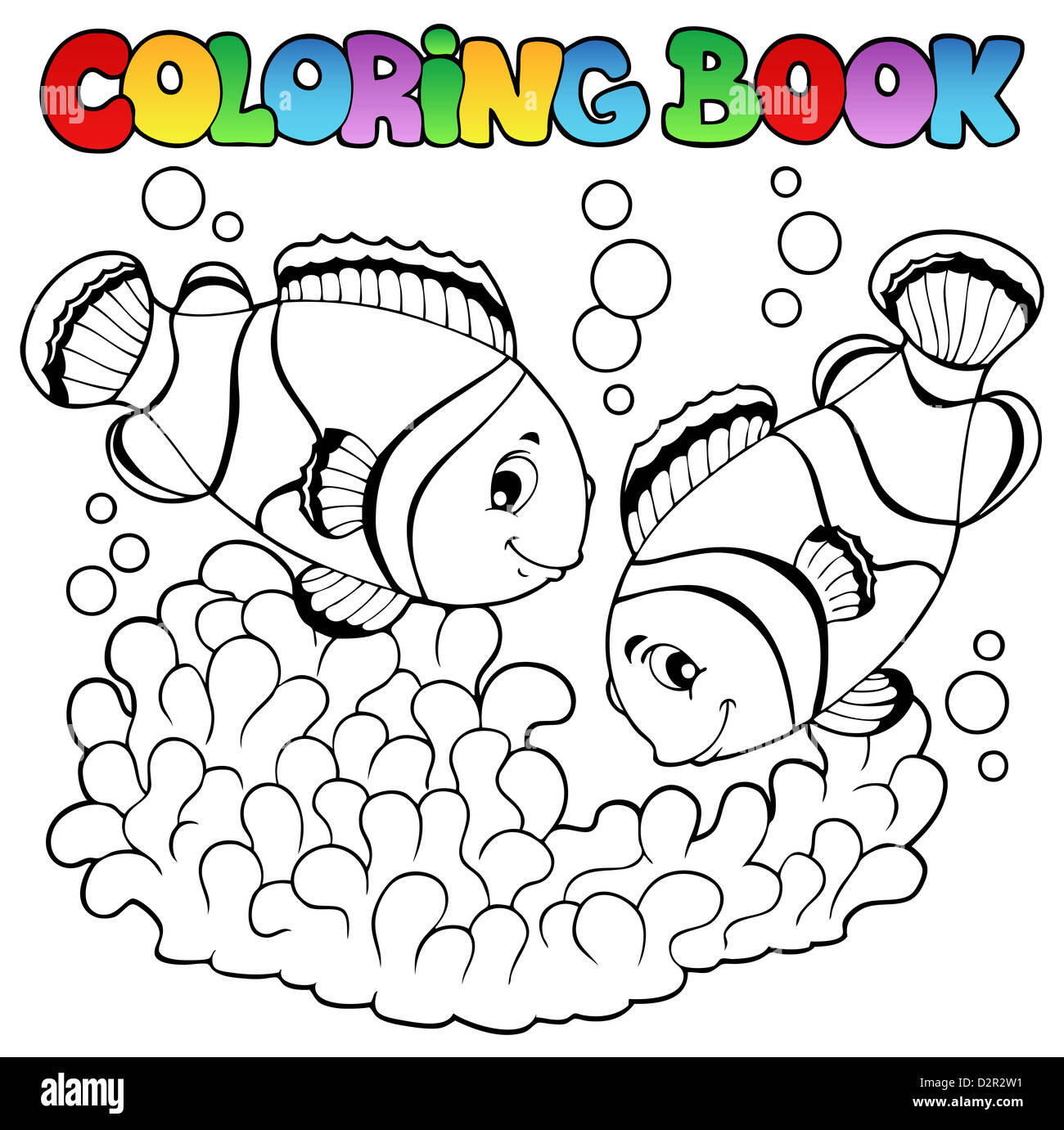 Coloring book two cute clown fishes - picture illustration. - Stock Image