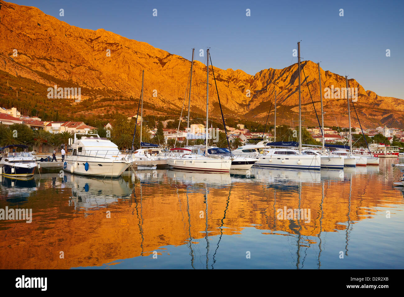 Baska Voda, small harbor in Makarska Riviera, Croatia - Stock Image