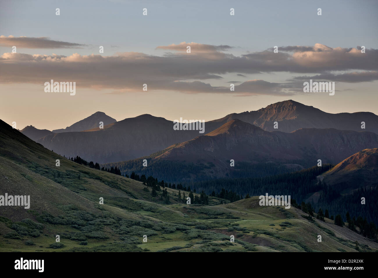 Dawn near Stony Pass, Rio Grande National Forest; Colorado, United States of America, North America - Stock Image