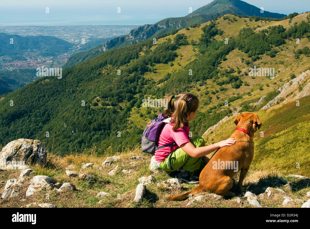 Girl and dog, looking at view of Camaiore and Tyrrhenian Sea from Apuan Alps (Alpi Apuane), Lucca Province, Tuscany, - Stock Image