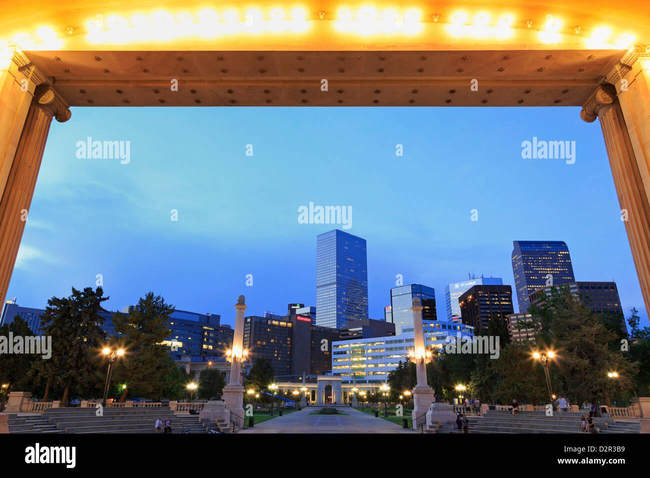Civic Center Park and skyline, Denver, Colorado, United States of America, North America - Stock Image
