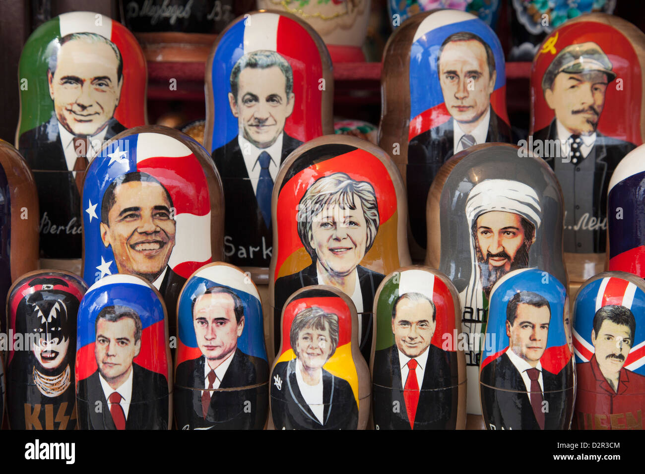 Modern Russian dolls for sale, Russia, Europe - Stock Image