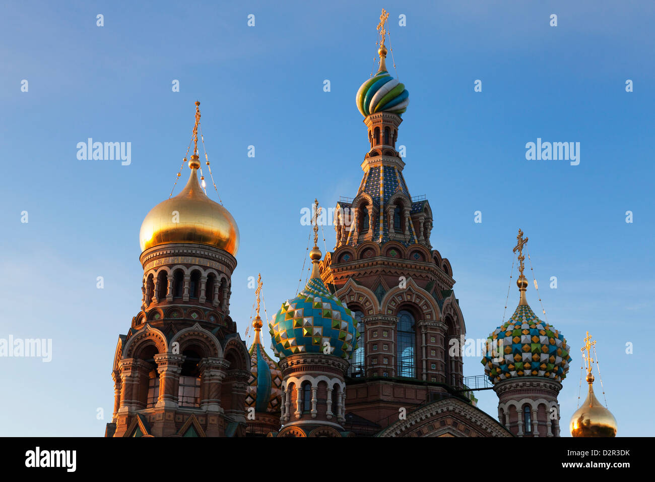 The decorative domes of the Church on Spilled Blood, UNESCO World Heritage Site, St. Petersburg, Russia, Europe - Stock Image