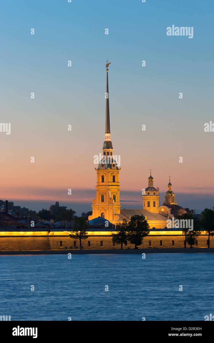 St. Peter and Paul Cathedral and the River Neva at night, St. Petersburg, Russia, Europe - Stock Image