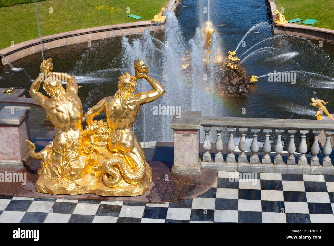 Golden statues and fountains of the Grand Cascade at the Peterhof Palace, St. Petersburg, Russia, Europe Stock Photo