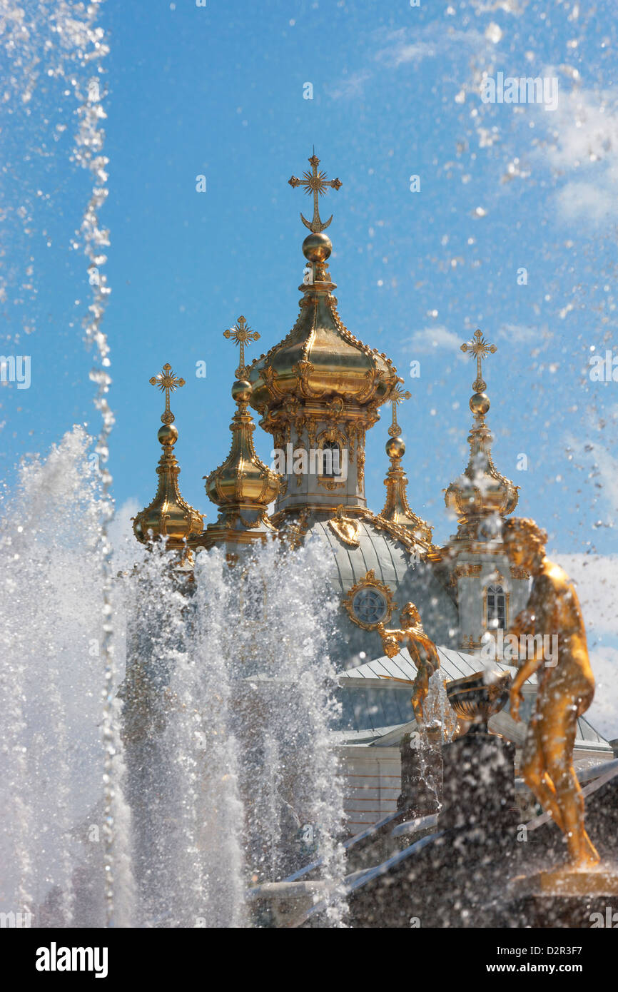 Golden statues and fountains of the Grand Cascade at Peterhof Palace, St. Petersburg, Russia, Europe Stock Photo