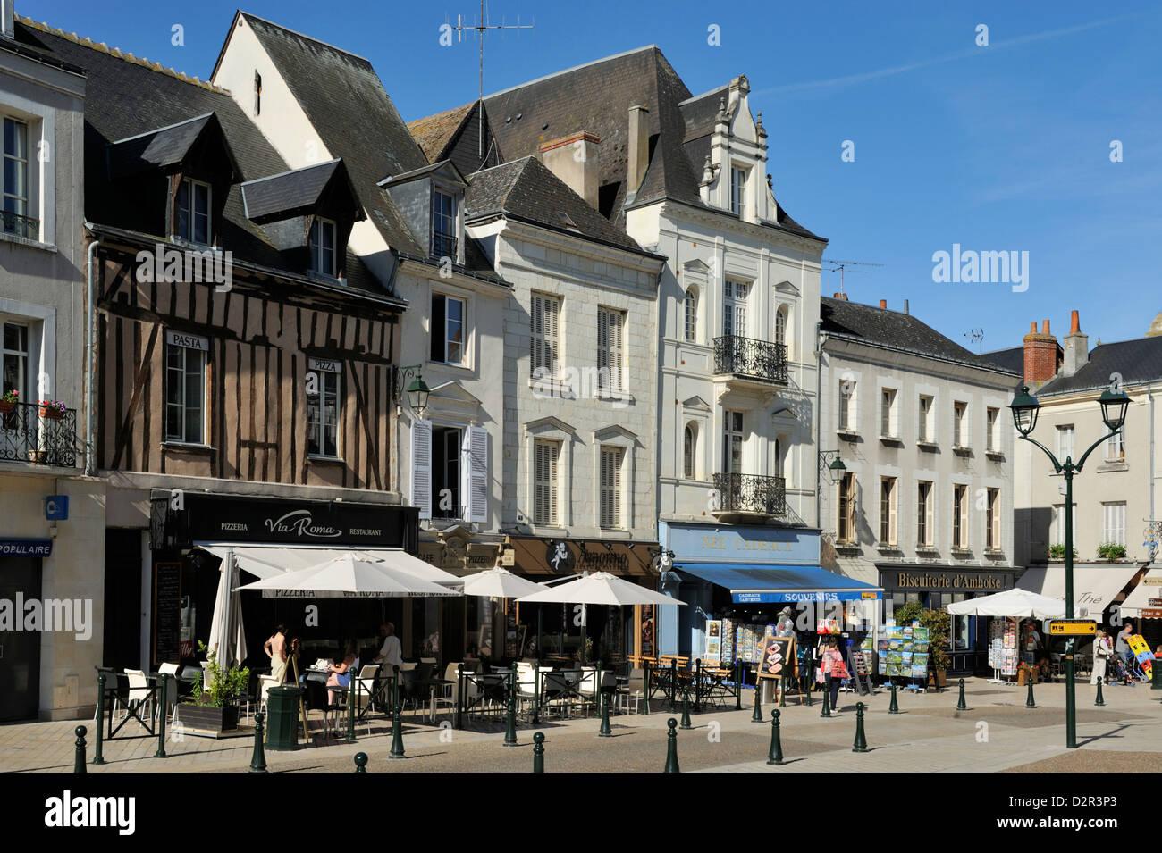Place Michel Debre, Amboise, UNESCO World Heritage Site, Indre-et-Loire, Centre, France, Europe - Stock Image