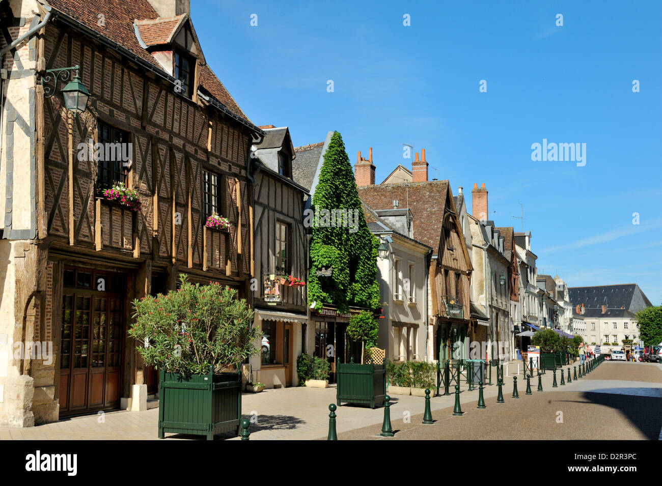 Medieval half-timbered buildings, Place Michel Debre, Amboise, Indre-et-Loire, Centre, France - Stock Image