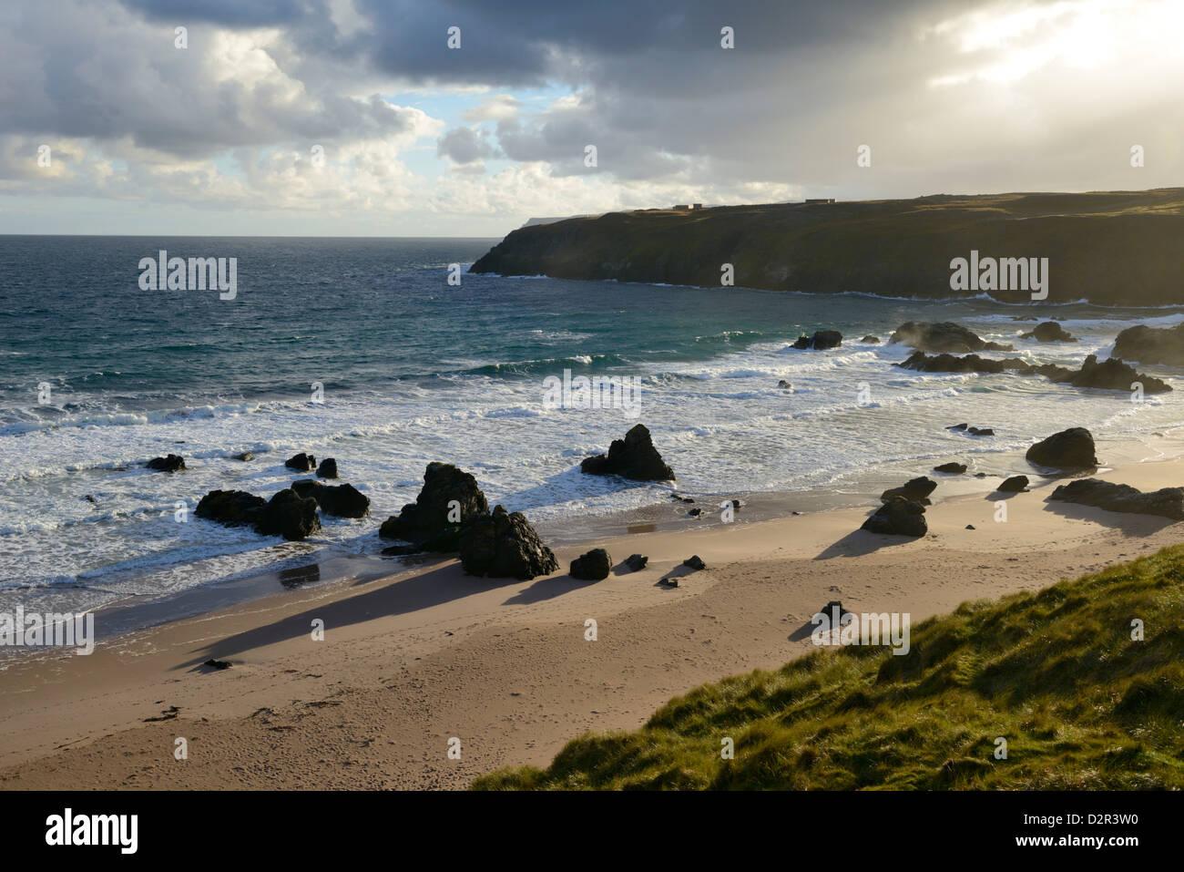 Rugged rocky shoreline, Sango Bay, Durness, Highlands, Scotland, United Kingdom, Europe - Stock Image