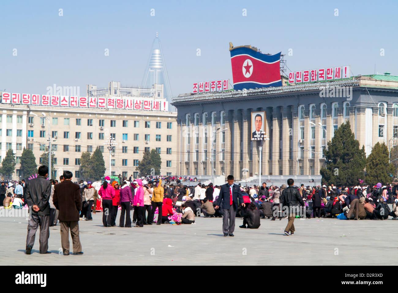 Kim Il Sung Square, Pyongyang, Democratic People's Republic of Korea (DPRK), North Korea, Asia - Stock Image