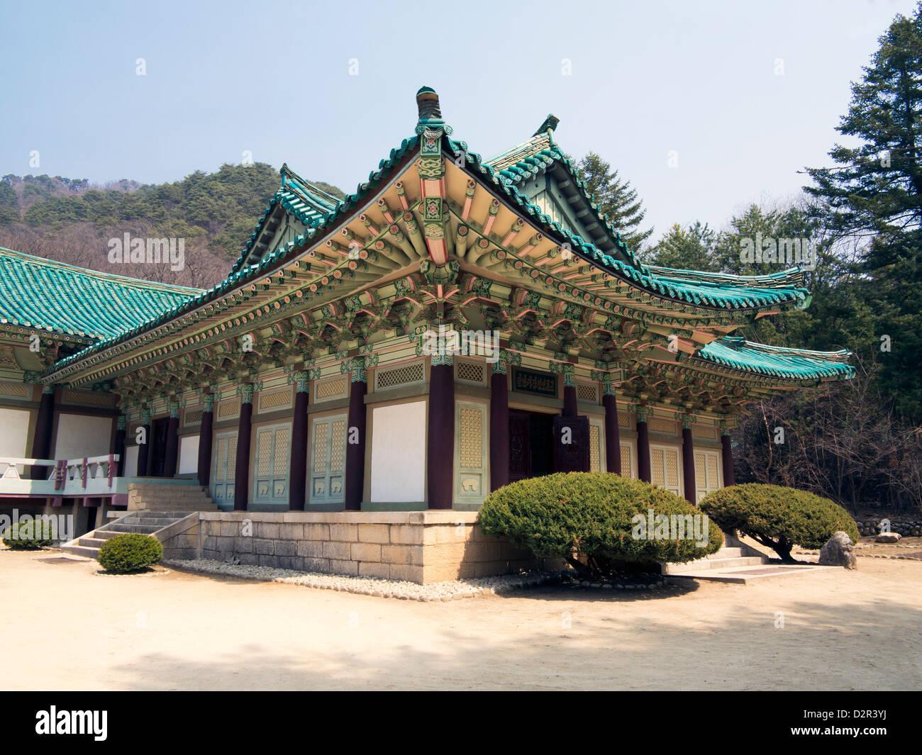 Pohyon Buddhist Temple, (Pohyon-sa), Myohyangsan, Democratic People's Republic of Korea (DPRK), North Korea, - Stock Image