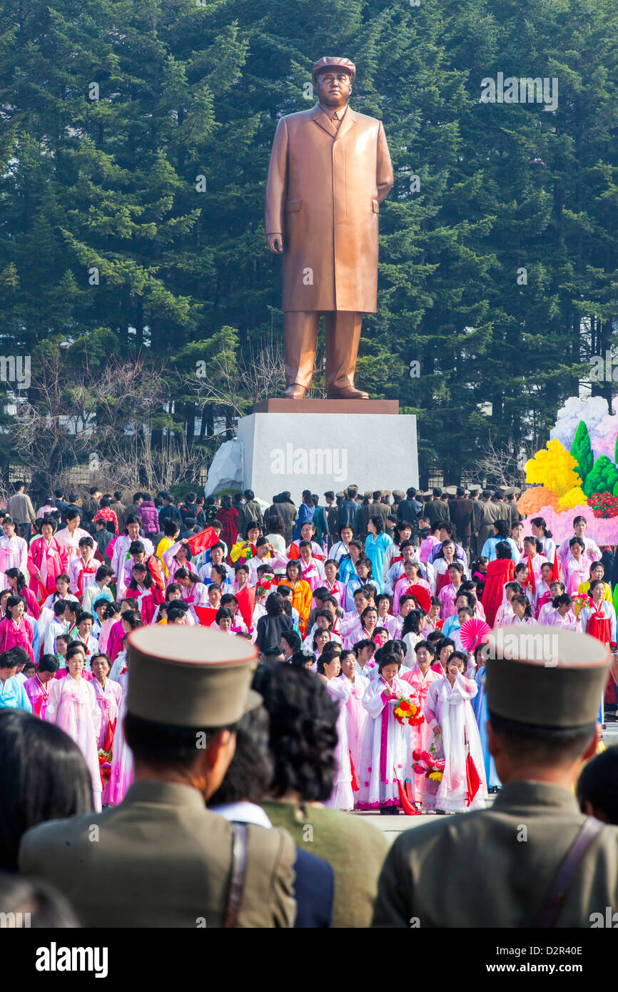 Celebrations on the 100th anniversary of the birth of President Kim Il Sun, in Pyongshong, outside Pyongyang, North Stock Photo