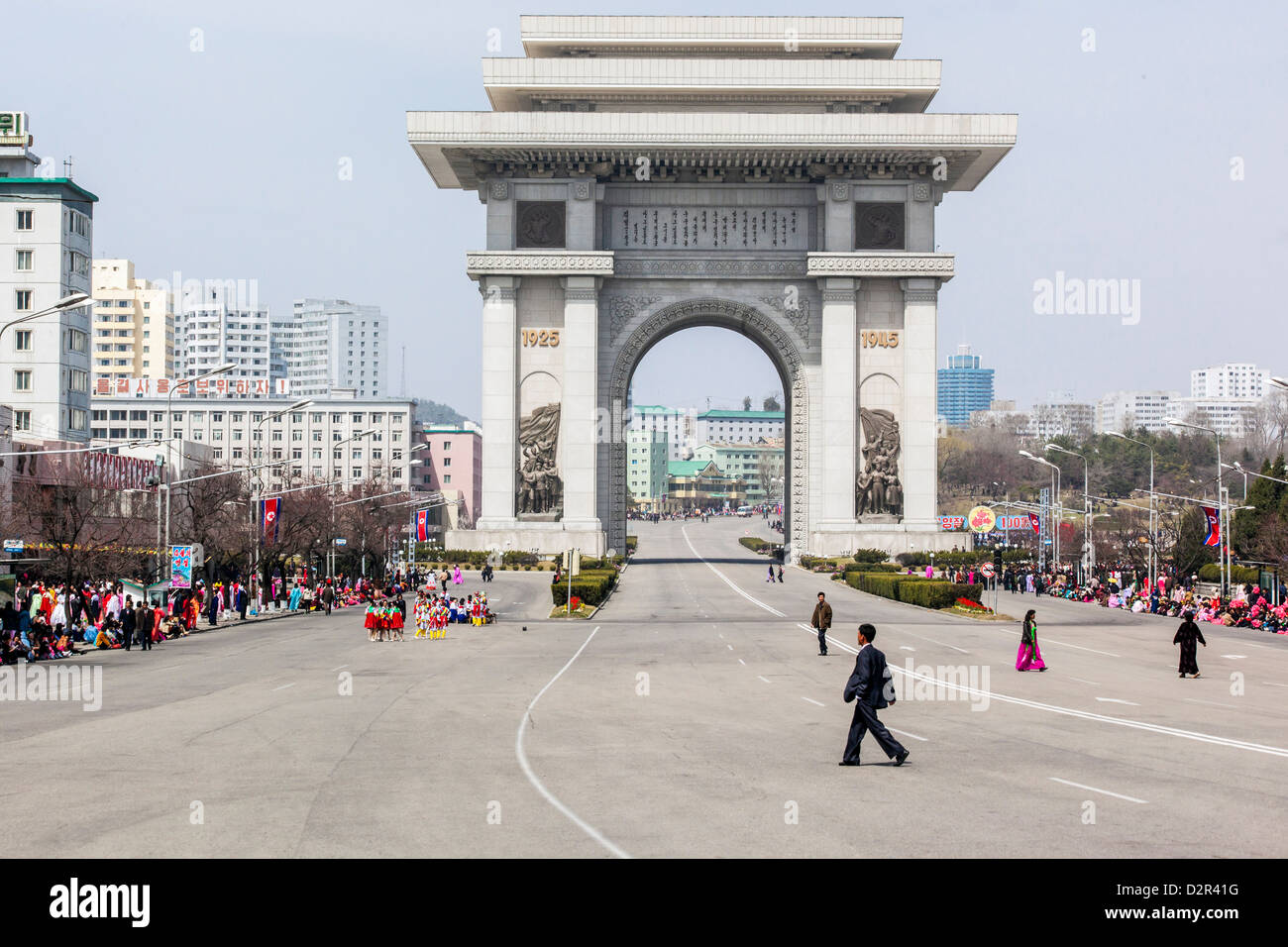 Celebrations in front of the Arc of Triumph, 100th anniversary of the birth of President Kim Il Sung, Pyongyang, - Stock Image