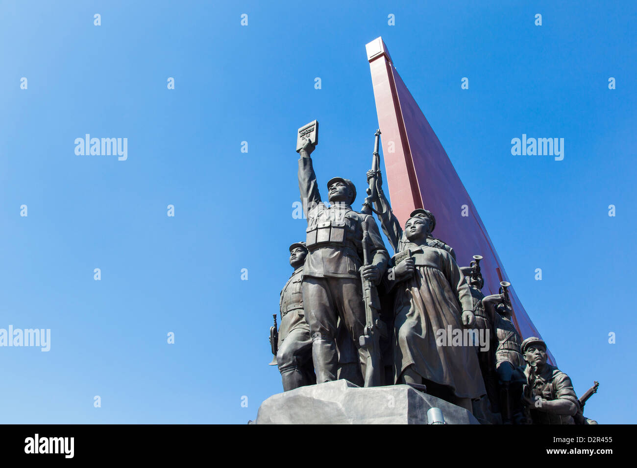 Mansudae Grand Monument depicting the Anti Japanese Revolutionary Struggle, Mansudae Assembly Hall, Pyongyang, North - Stock Image