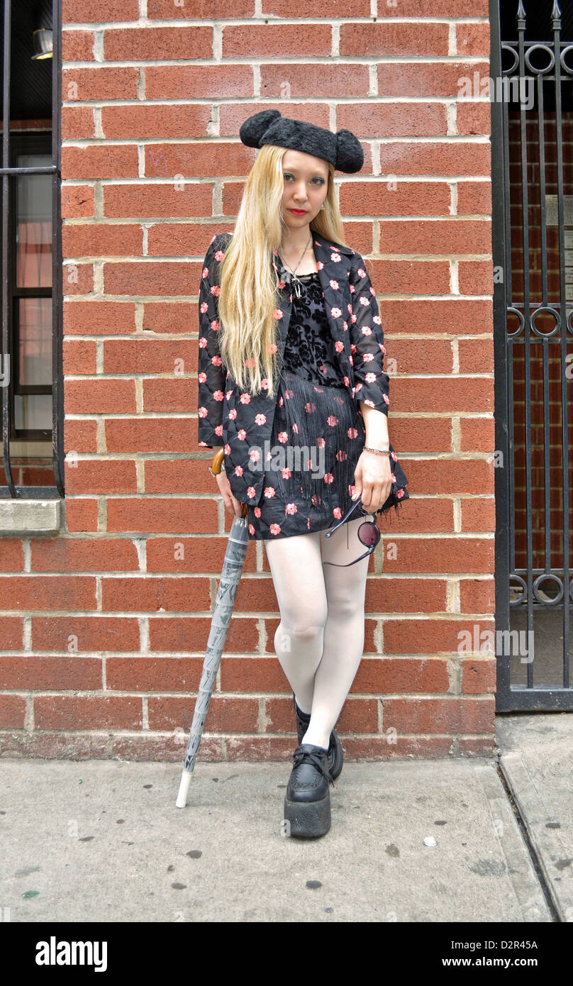 Portrait of oddly dressed Haruka in the East Village section of New York City - Stock Image