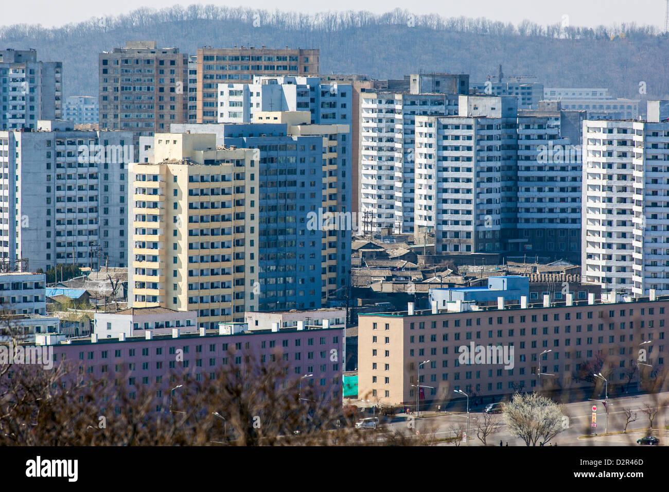 Apartment buildings, Pyongyang, Democratic People's Republic of Korea (DPRK), North Korea, Asia - Stock Image