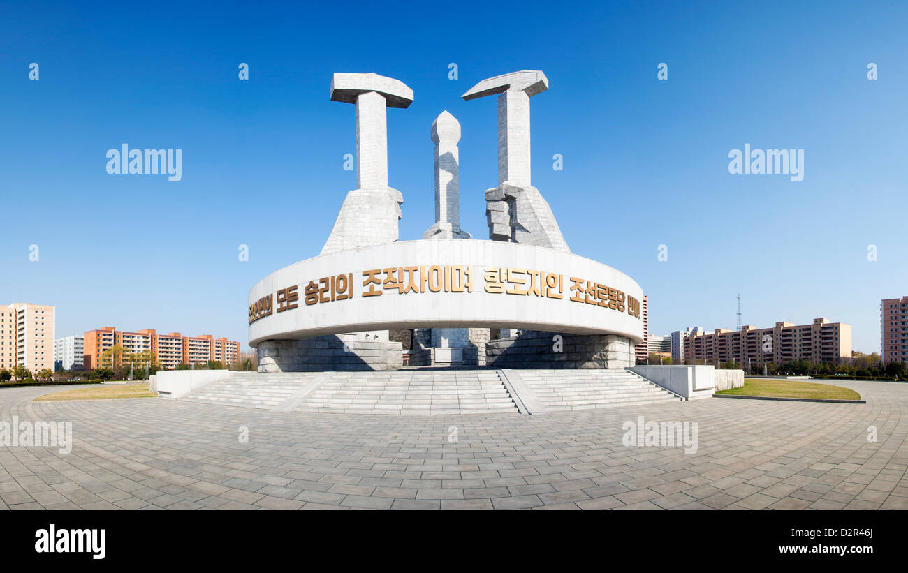 Monument to the Foundation of the Workers Party of Korea, Pyongyang, North Korea - Stock Image