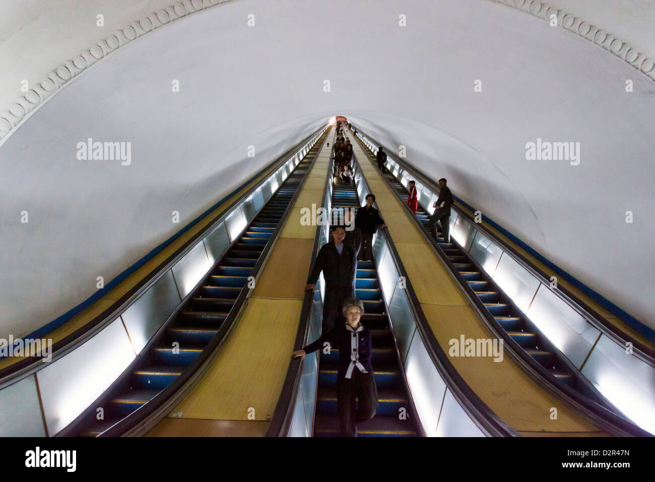 Punhung station, one of the many 100 metre deep subway stations on the Pyongyang subway network, Pyongyang, North - Stock Image