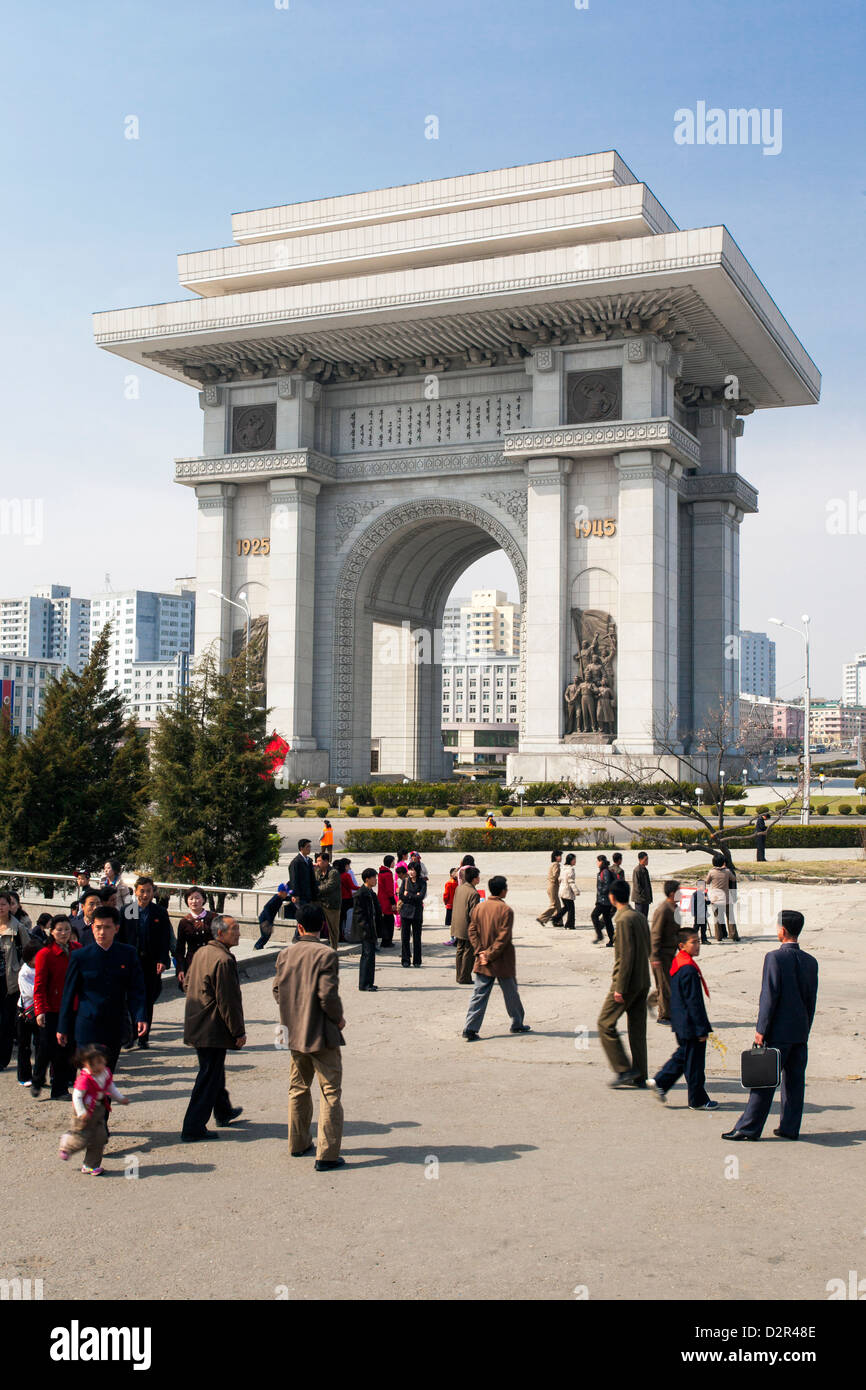 Arch of Triumph, 3m higher than the Arc de Triomphe in Paris, Pyongyang, North Korea - Stock Image