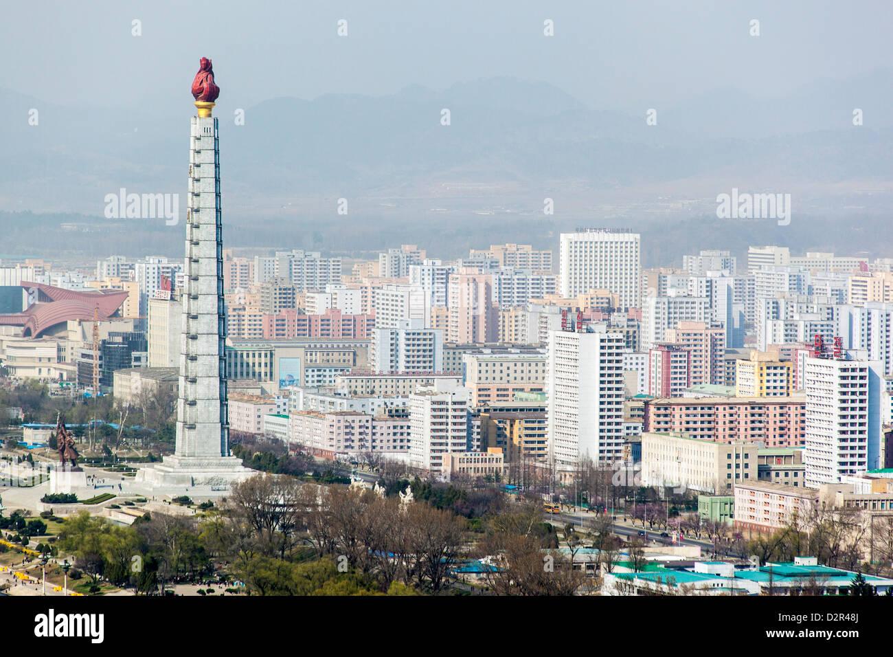 City skyline and the Juche Tower, Pyongyang, Democratic People's Republic of Korea (DPRK), North Korea, Asia - Stock Image