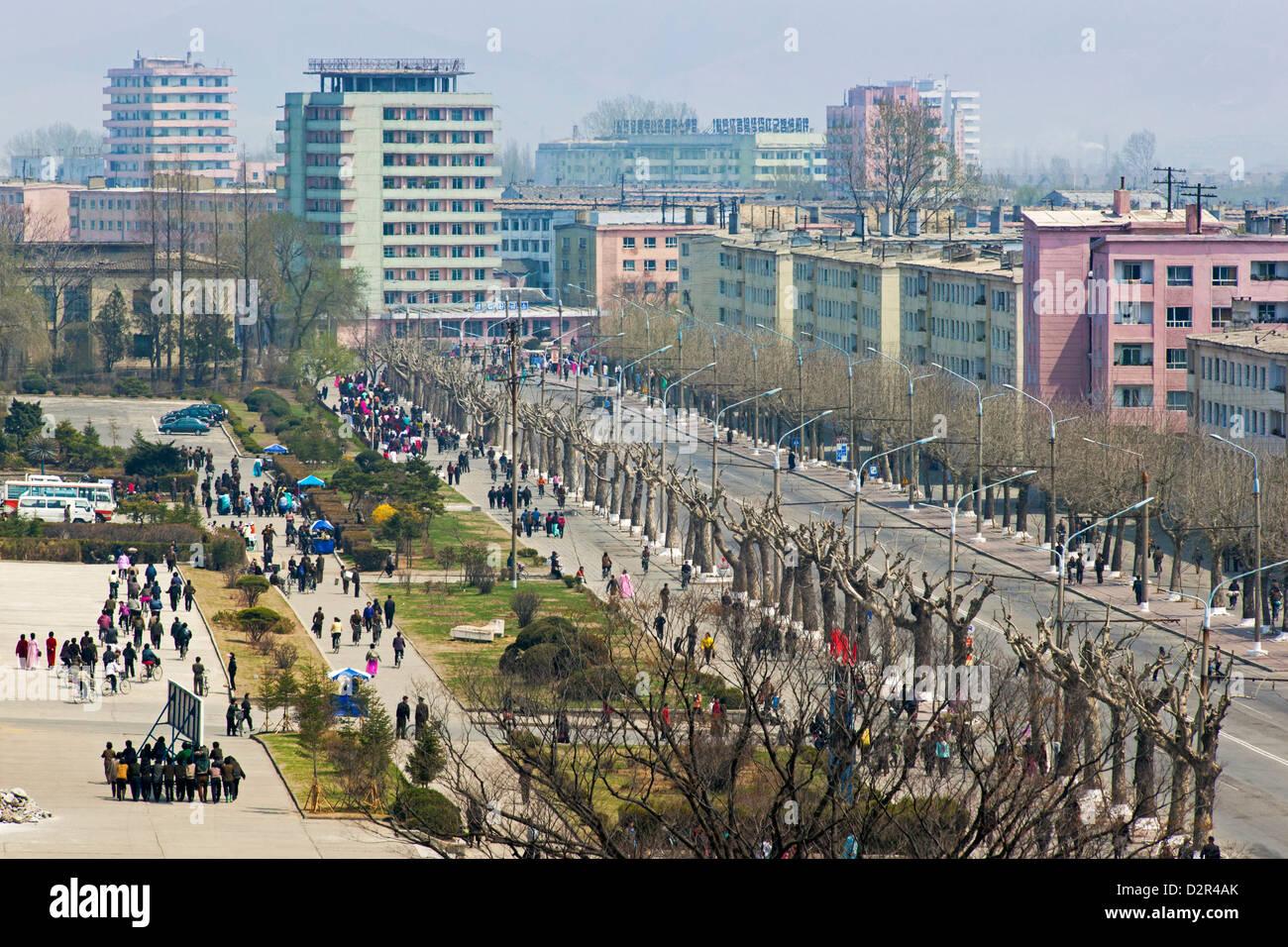 City streets, Hamhung, Democratic People's Republic of Korea (DPRK), North Korea, Asia - Stock Image