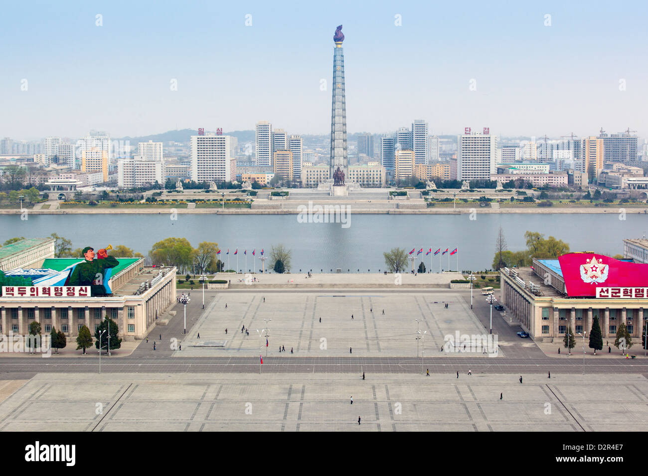 Elevated view over Kim Il Sung Square, Pyongyang, Democratic People's Republic of Korea (DPRK), North Korea, - Stock Image