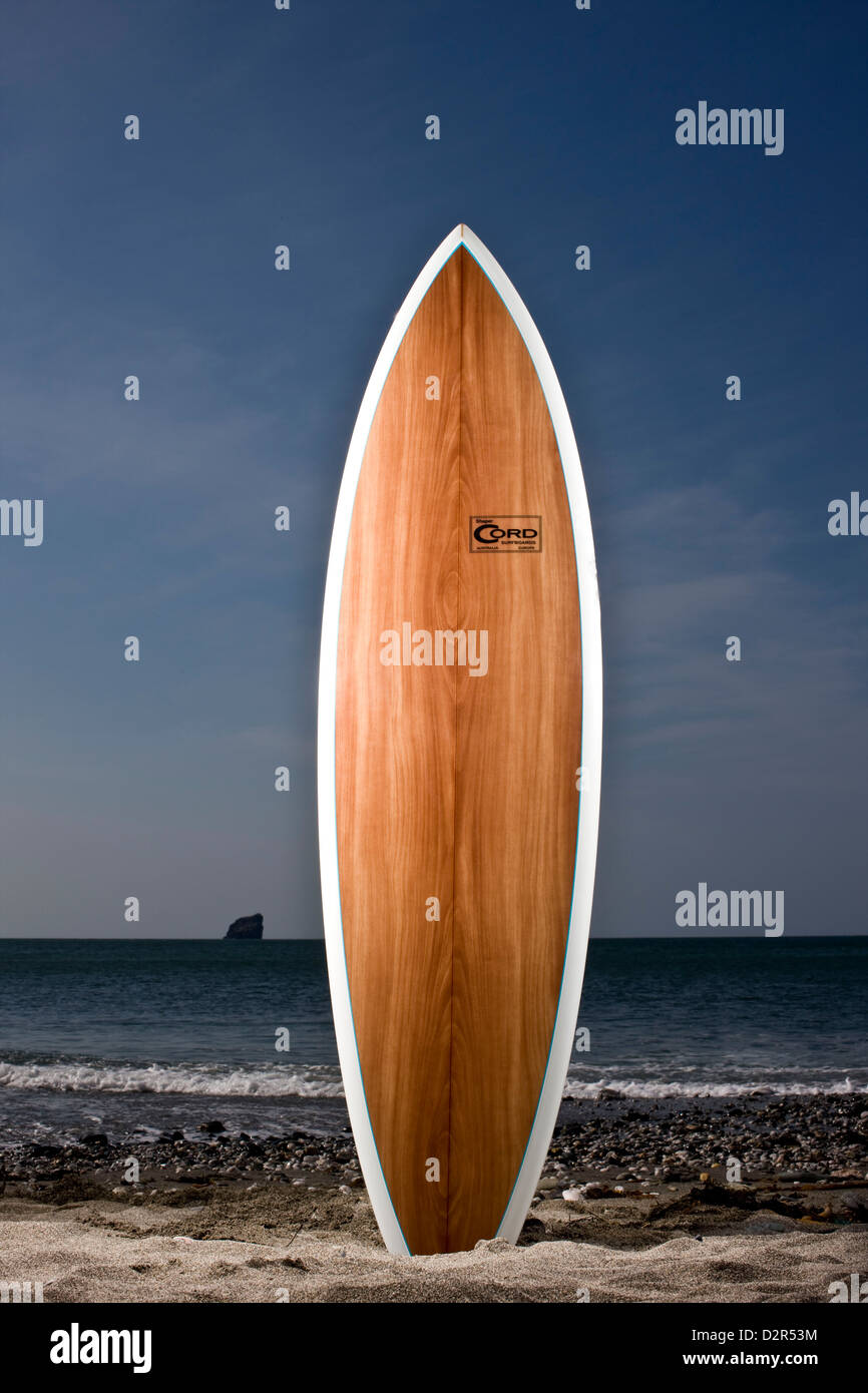 Smooth wooden surfboard standing on end at waters edge Stock Photo