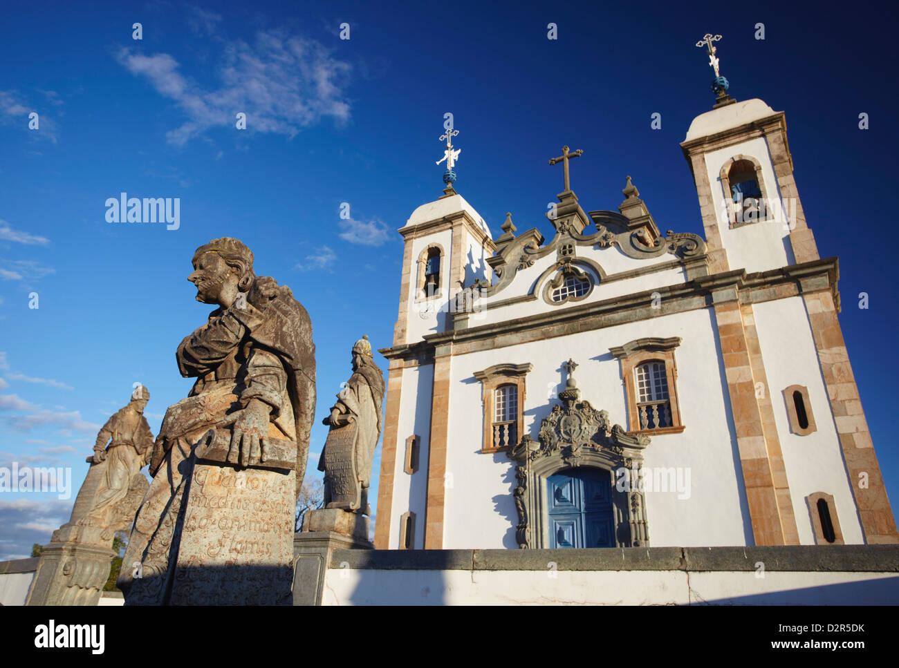 Sanctuary of Bom Jesus de Matosinhos and The Prophets sculptures by Aleijadinho, Congonhas, Minas Gerais, Brazil - Stock Image