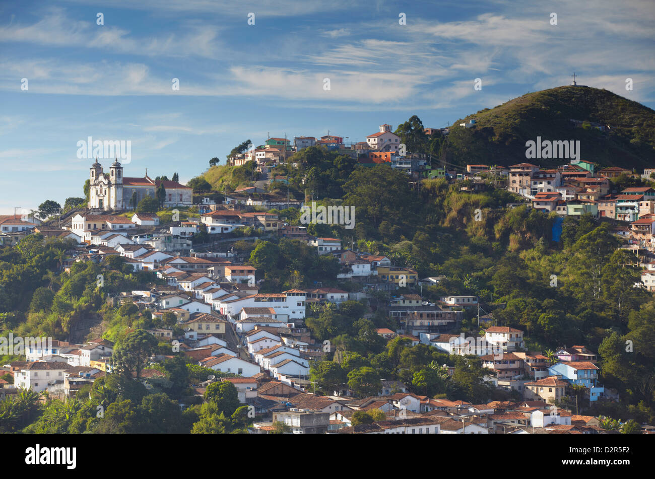 View of Santa Efigenia dos Pretos Church and hillside houses, Ouro Preto, Minas Gerais, Brazil - Stock Image