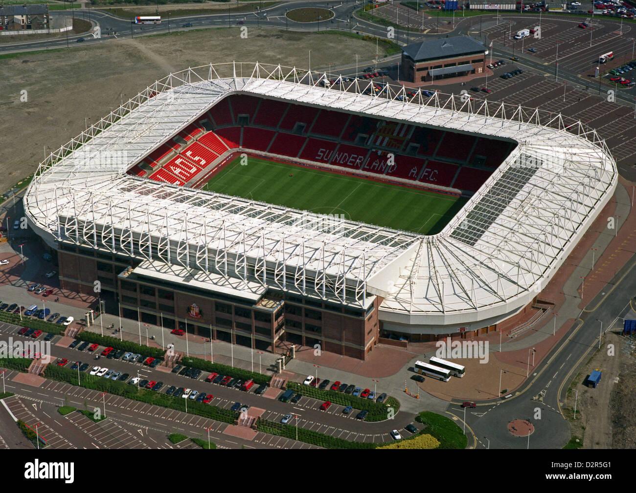 aerial view of Sunderland Football Club's Stadium of Light - Stock Image