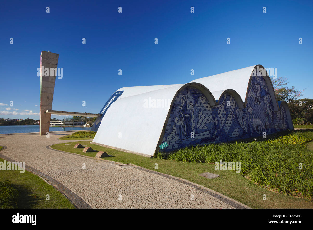 Church of St. Francis of Assisi, designed by Oscar Niemeyer, Pampulha Lake, Pampulha, Belo Horizonte, Minas Gerais, - Stock Image