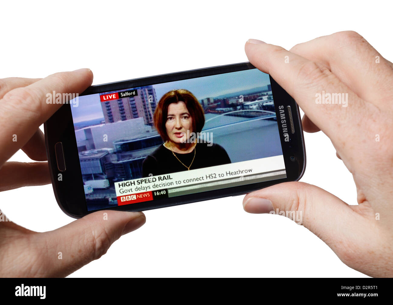 Watching TV live Sky News TV on a Samsung Galaxy android mobile phone smartphone smart phone - Stock Image