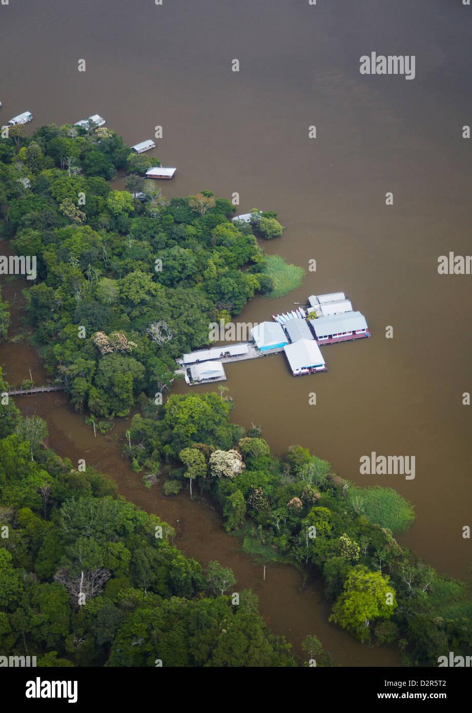 Aerial view of housing on the Rio Negro, Manaus, Amazonas, Brazil, South America - Stock Image