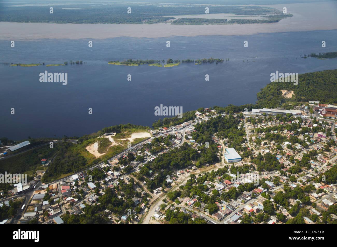 Aerial view of development along the Rio Negro, Manaus, Amazonas, Brazil, South America - Stock Image