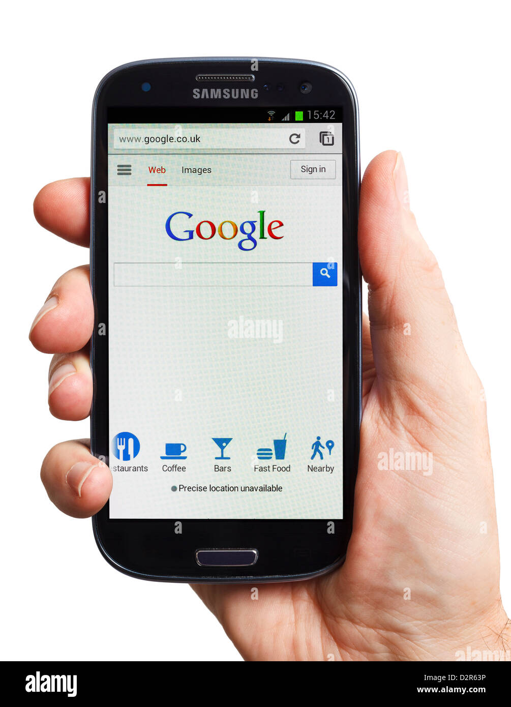Google Chrome on an Android smartphone mobile phone smart phone - Stock Image