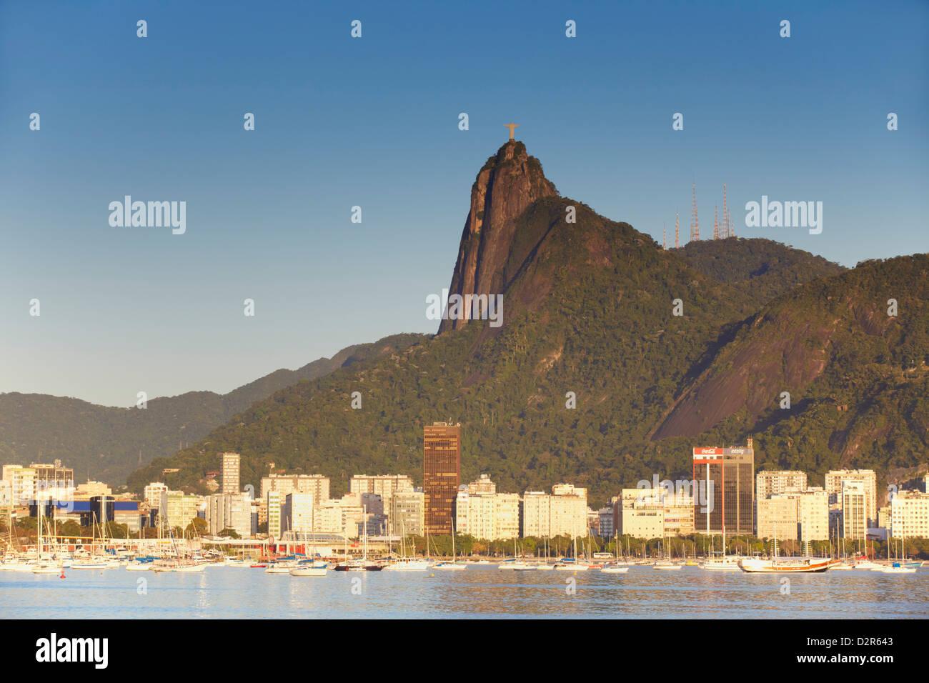 Christ the Redeemer statue atop Corvocado and Botafogo Bay, Rio de Janeiro, Brazil, South America Stock Photo