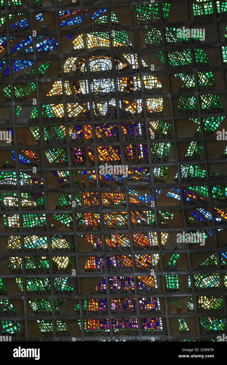 Stained glass window of Metropolitan Cathedral of St. Sebastian, Centro, Rio de Janeiro, Brazil, South America - Stock Image
