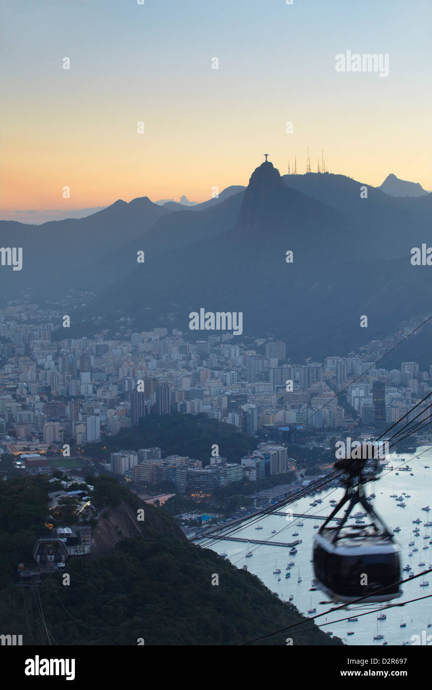 View of Christ the Redeemer statue and Botafogo Bay from Sugar Loaf Mountain, Rio de Janeiro, Brazil, South America - Stock Image