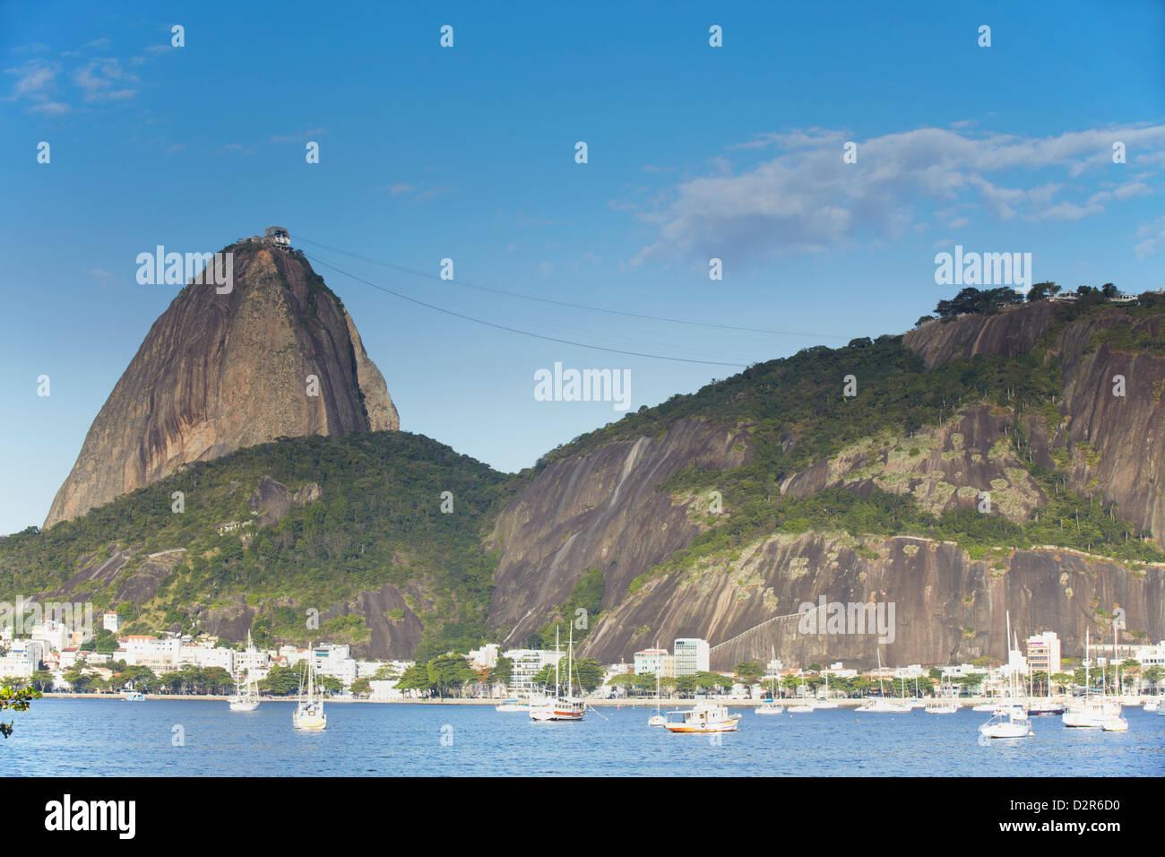 Botafogo Bay and Sugar Loaf Mountain (Pao de Acucar), Rio de Janeiro, Brazil, South America Stock Photo