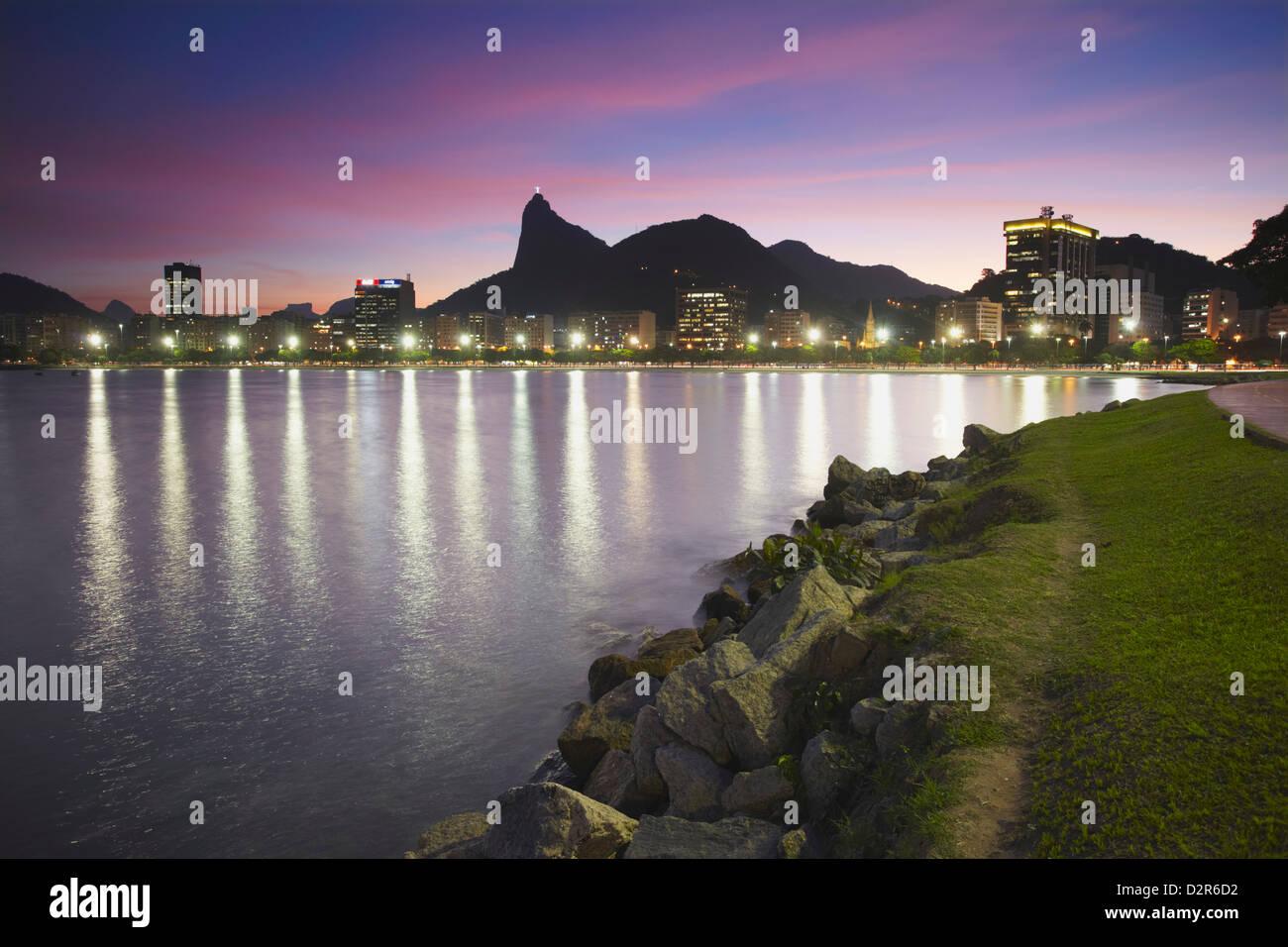 Botafogo Bay and Christ the Redeemer statue (Cristo Redentor), Rio de Janeiro, Brazil, South America - Stock Image