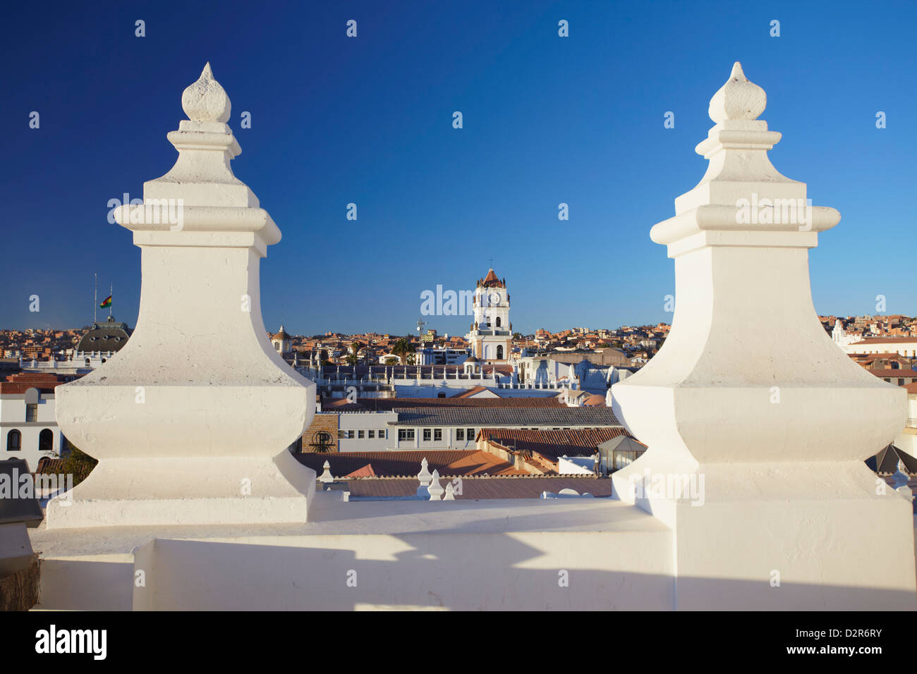 View of Sucre from rooftop of Convento de San Felipe Neri, Sucre, UNESCO World Heritage Site, Bolivia, South America - Stock Image