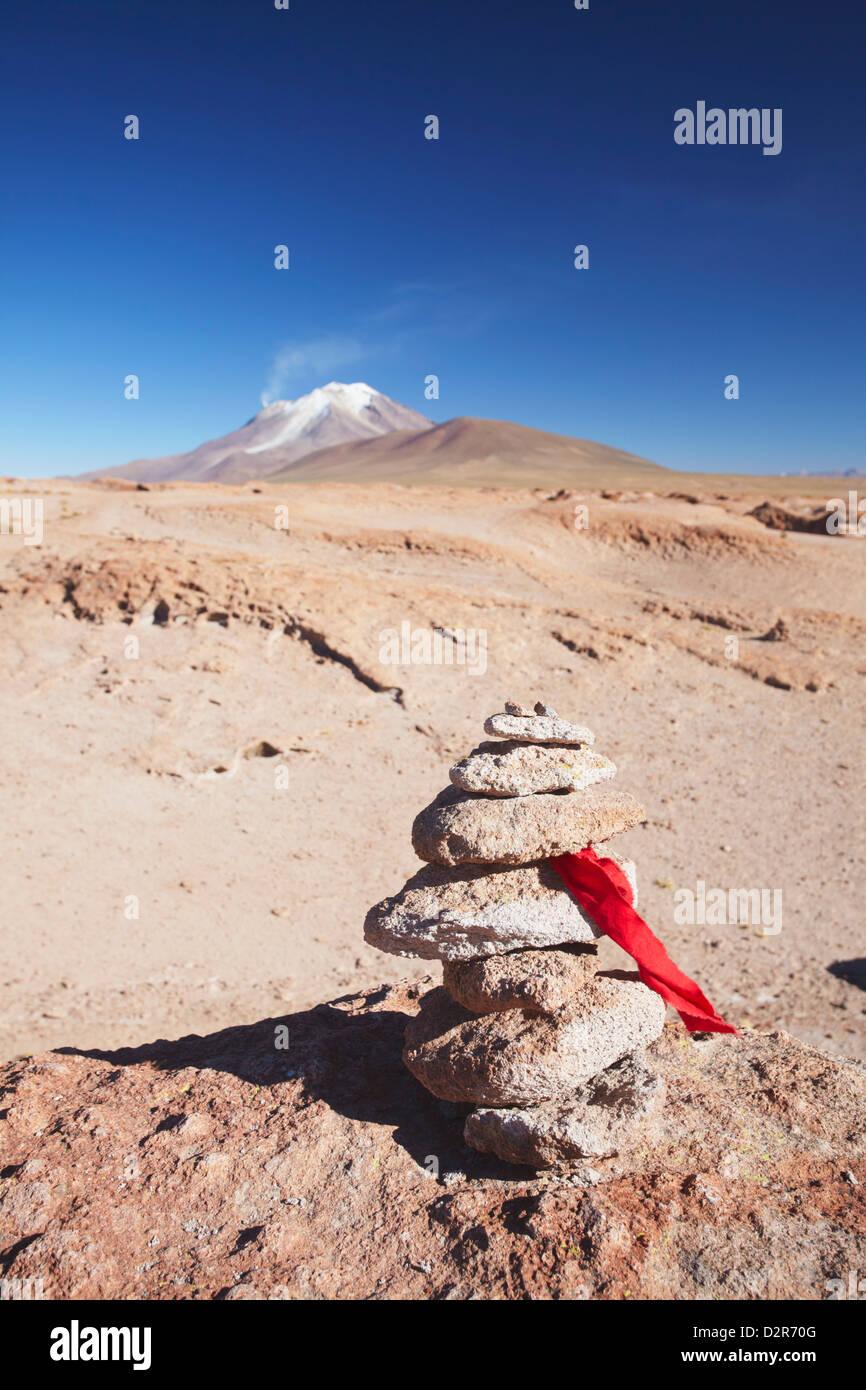 Stack of prayer stones on Altiplano, Potosi Department, Bolivia, South America - Stock Image