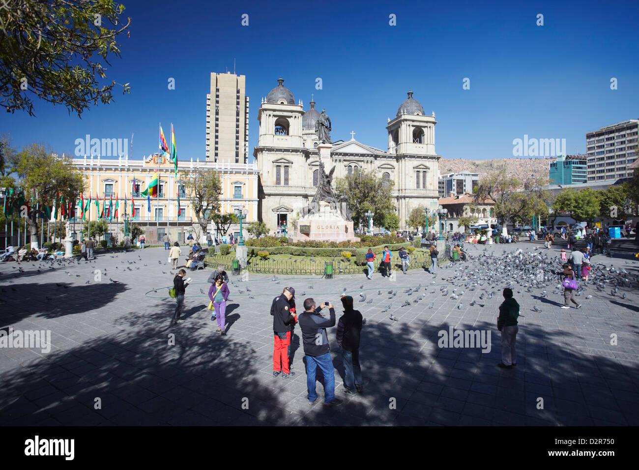 Plaza Pedro Murillo, La Paz, Bolivia, South America - Stock Image