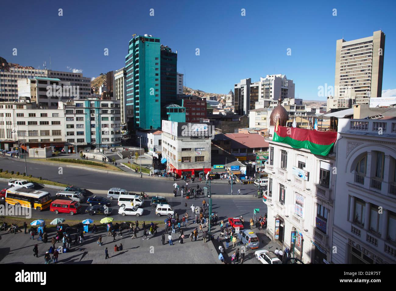 View of Mariscal Santa Cruz Avenue, La Paz, Bolivia, South America - Stock Image