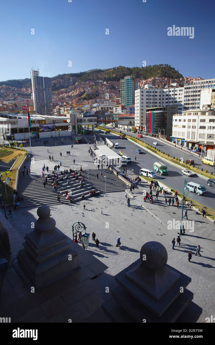 View of Plaza San Francisco from rooftop of San Francisco Church, La Paz, Bolivia, South America - Stock Image