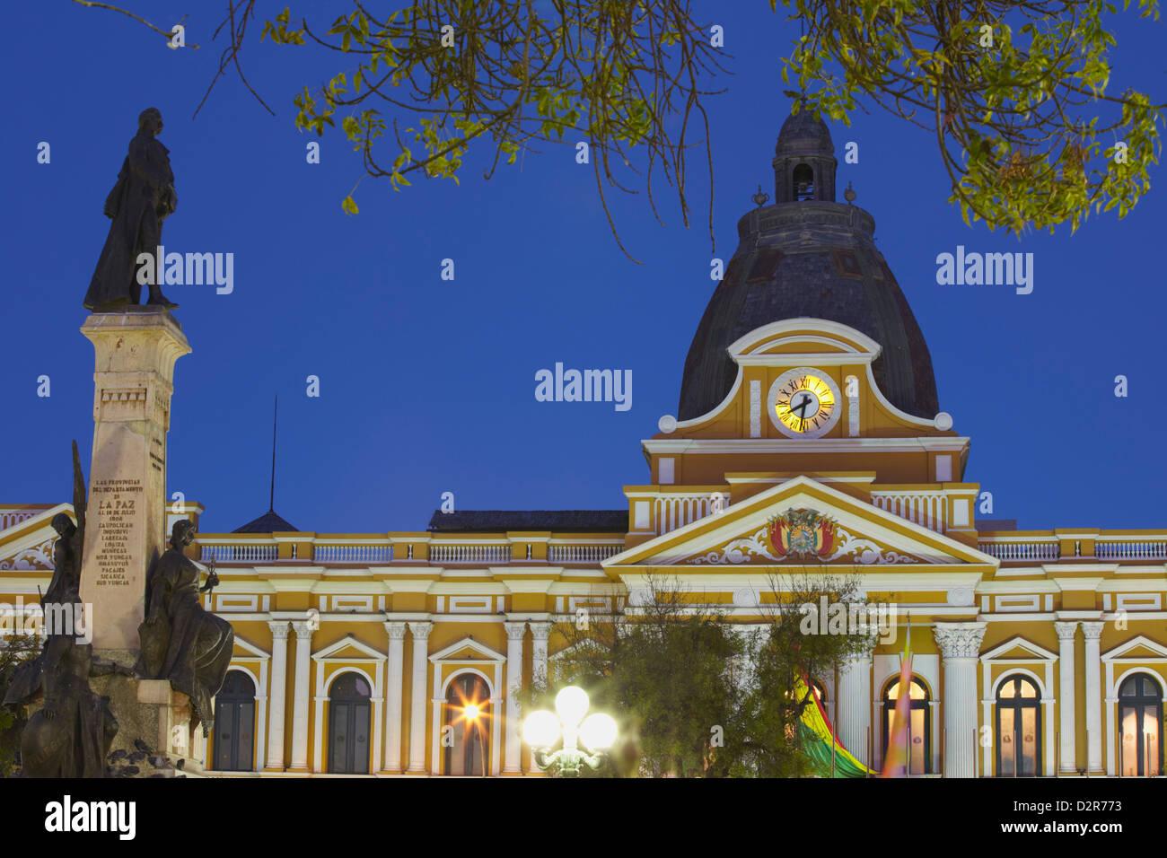 Palacio Legislativo (Legislative Palace) at dusk, La Paz, Bolivia, South America - Stock Image