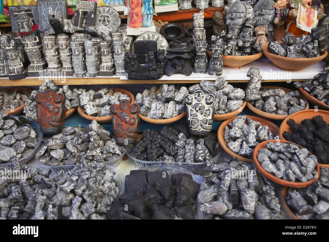 Carved stone souvenirs in Witches' Market, La Paz, Bolivia, South America - Stock Image