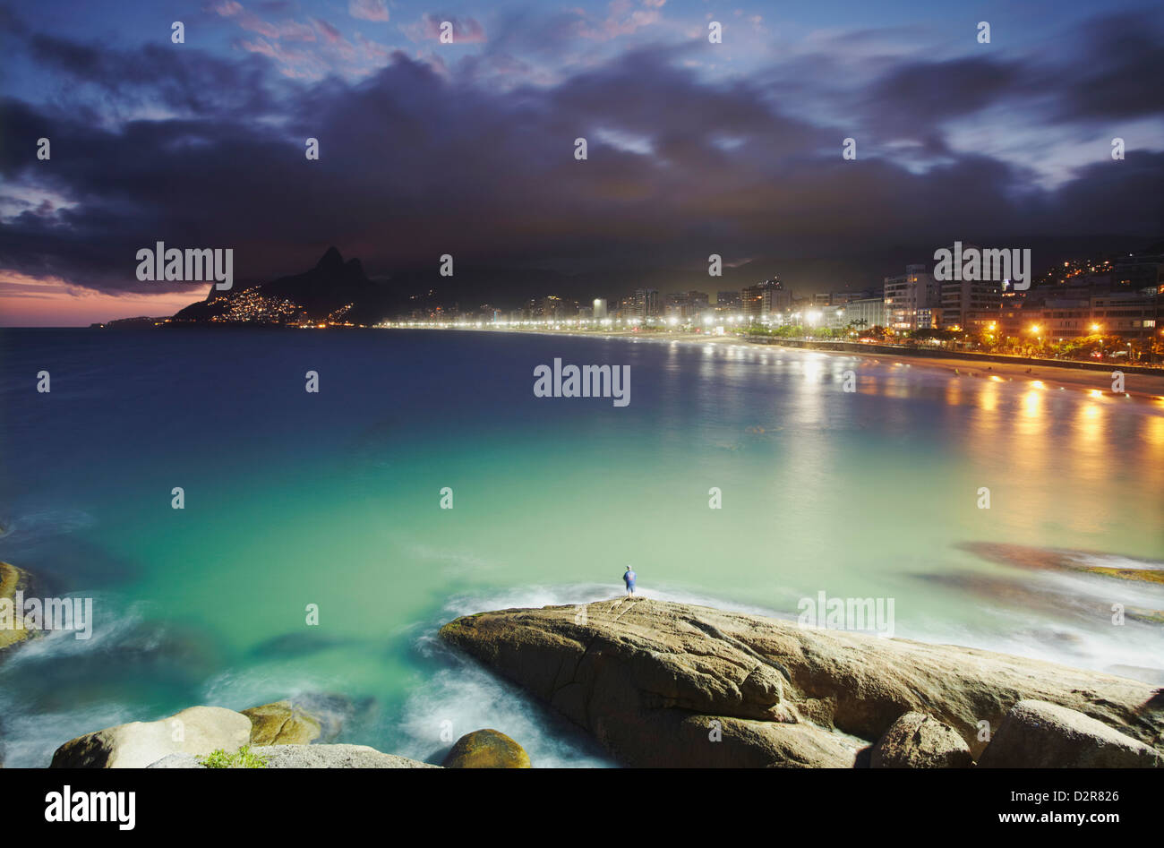 Ipanema beach and Ponta do Aproador at sunset, Rio de Janeiro, Brazil, South America - Stock Image